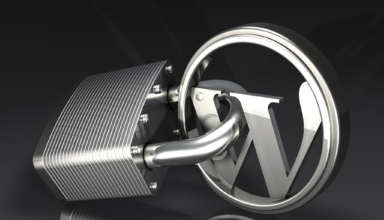 3d illustration of a large padlock attached to a metallic Wordpress logo over a dark gray reflective surface